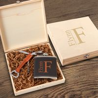 Personalized Dunbar Groomsmen Flask Gift Box Set