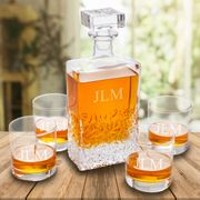 Personalized Kinsale Rectangular 24 oz. Whiskey Decanter with Set of 4 Lowball Glasses