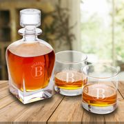 Personalized Antique 24 oz. Whiskey Decanter with Set of 2 Lowball Glasses