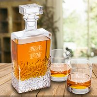 Personalized Kinsale Rectangular 24 oz. Whiskey Decanter with Set of 2 Lowball Glasses
