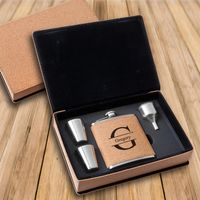 Cork Flask & Shot Glass Gift Box Set