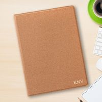 Monogrammed Cork Portfolio with Notepad