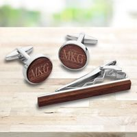 Personalized Walnut Wood Cufflinks and Tie Clip Set