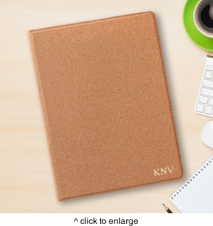 Monogrammed Cork Portfolio with Notepad - click to enlarge