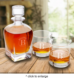 Personalized Antique 24 oz. Whiskey Decanter with Set of 2 Lowball Glasses - click to enlarge
