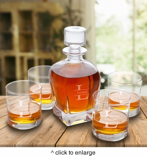 Personalized Antique 24 oz. Whiskey Decanter with set of 4 Lowball Glasses - click to enlarge