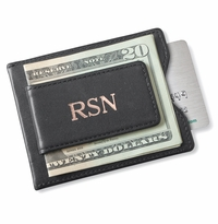 Personalized Black Leather Magnetic Wallet & Money Clip