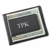 Personalized Black Leather Magnetic Wallet & Money Clip - click to enlarge