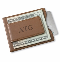 Personalized Brown Leather Magnetic Wallet & Money Clip