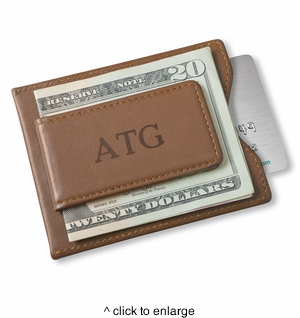 Personalized Brown Leather Magnetic Wallet & Money Clip - click to enlarge