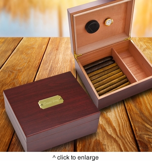 Personalized  Cherry Finish Wood Humidor - click to enlarge