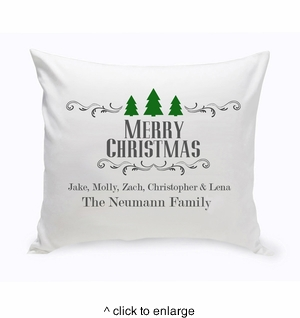 Personalized Christmas Trees Throw Pillow - click to enlarge