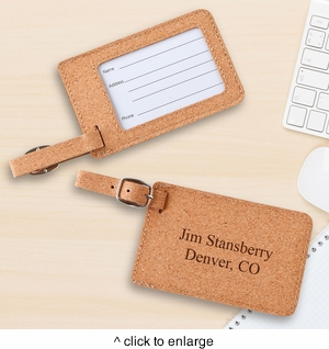 Personalized Cork Luggage Tag  - click to enlarge