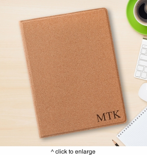Personalized Cork Portfolio with Notepad - click to enlarge