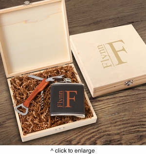 Personalized Dunbar Groomsmen Flask Gift Box Set - click to enlarge