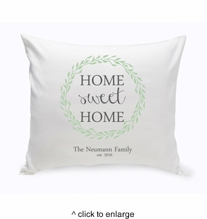 Personalized Home Sweet Home Throw Pillow - Green Wreath - click to enlarge