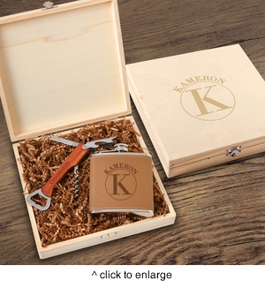 Personalized Kelso Groomsmen Flask Gift Box Set - click to enlarge