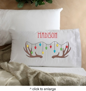 Personalized Kids Reindeer Christmas Pillow - click to enlarge