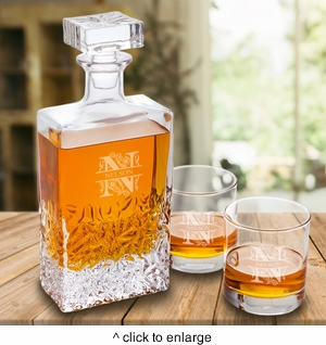 Personalized Kinsale Rectangular 24 oz. Whiskey Decanter with Set of 2 Lowball Glasses - click to enlarge