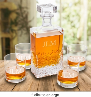Personalized Kinsale Rectangular 24 oz. Whiskey Decanter with Set of 4 Lowball Glasses - click to enlarge