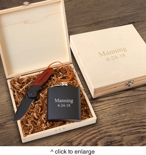 Personalized Larkhall Groomsmen Flask Gift Box Set - click to enlarge