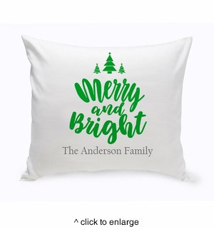 Personalized Merry & Bright Throw Pillow - click to enlarge