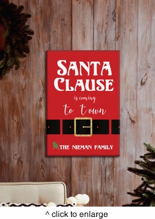 Personalized Santa Is Coming To Town Canvas - click to enlarge