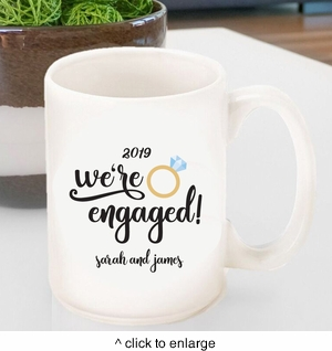 Personalized We're Engaged Coffee Mug - click to enlarge