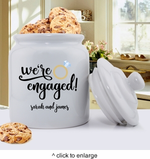 Personalized We're Engaged Cookie Jar - click to enlarge