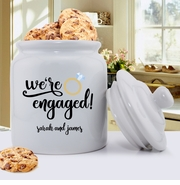Personalized We're Engaged Cookie Jar