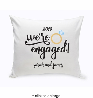 Personalized We're Engaged Throw Pillow - click to enlarge