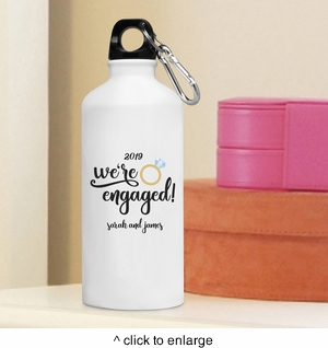 Personalized We're Engaged Water Bottle - click to enlarge