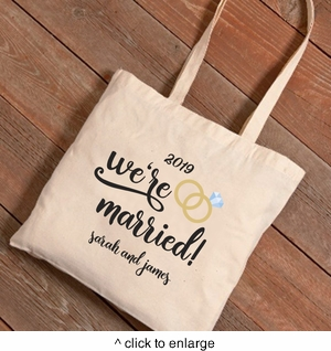 Personalized We're Married Canvas Tote Bag - click to enlarge