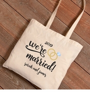 Personalized We're Married Canvas Tote Bag
