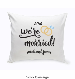 Personalized We're Married Throw Pillow - click to enlarge