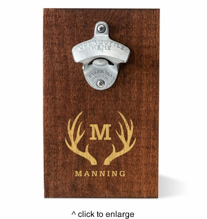 Personalized Wood Plank Wall Bottle Opener	 - click to enlarge