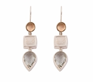 925 silver & 9 ct gold earrings set green amethyst gems