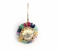925 SILVER & 9K GOLD EARRINGS WITH MULTI COLORED SAPPHIRES