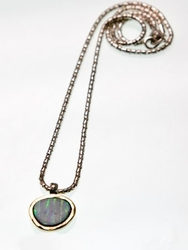 925 silver and 9KT gold necklace set white opal stone