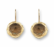 9K / 14K GOLD EARRING SET WITH A ROSE CUT SMOKY QUARTZ