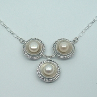 Amazing Designer Gift Sterling Silver and Freshwater Pearls Necklace wholesale jewelry