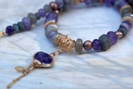 Amethyst necklace, set with colorful variety of Amethyst, Labradorite, Pearls and shells.