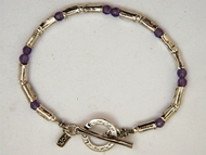 Amethyst sterling silver beaded bracelet Love pendant