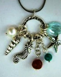 Aqua Marine sterling #silver #charms #necklace