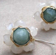 Aquamarine moonstone earrings dangling flower