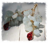 Aquamarine red drop dangling earrings