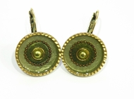 Artistic designer fashion israeli jewelry olive colour earrings