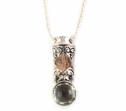 Artistic sterling silver necklace & 9 carat pendant set with a checker cut green amethyst gemstone