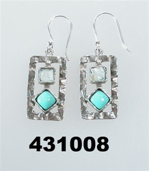 Artistic sterling silver opals earrings Israeli typical modern jewelry