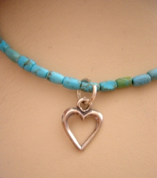Bat Mitzva gift turquoise heart necklace Israeli charms